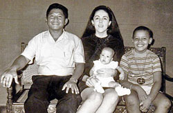 Ann Dunham with husband Lolo Soetoro and children Maya and Barack in Indonesia.